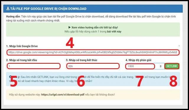 Dùng PDF.GDrive.VIP để tải file từ Google Drive bị cấm bước 3